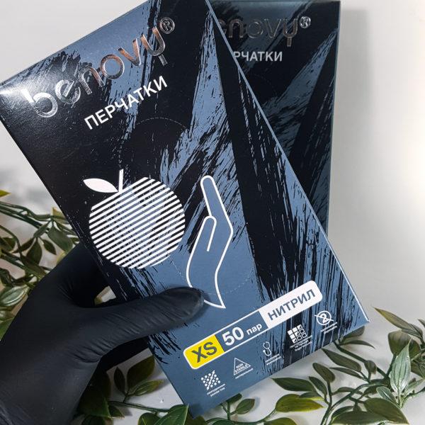 Нитриловые перчатки Benovy 50 пар/100 шт. Xs черные